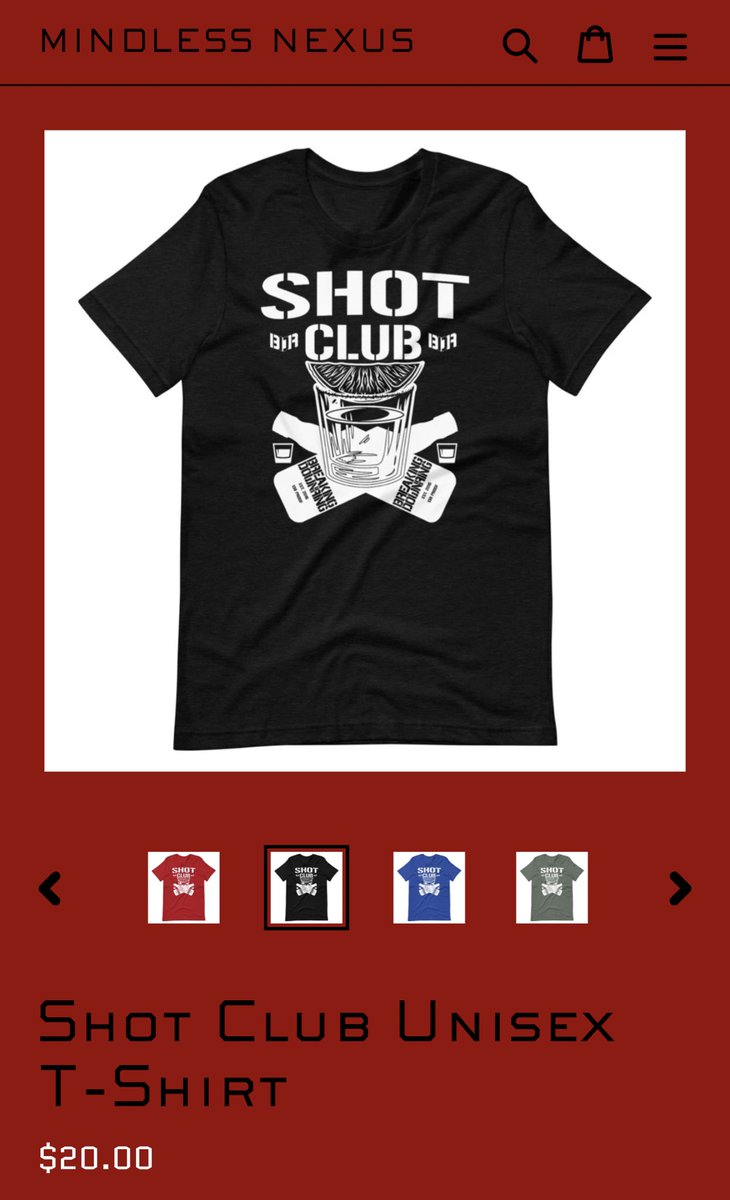 Sure, the #BulletClub shirt is cool, but you prefer the booze type of shot because you're #HardToKill. Our #ShotClub shirt is on sale tonight only starting at $20!!