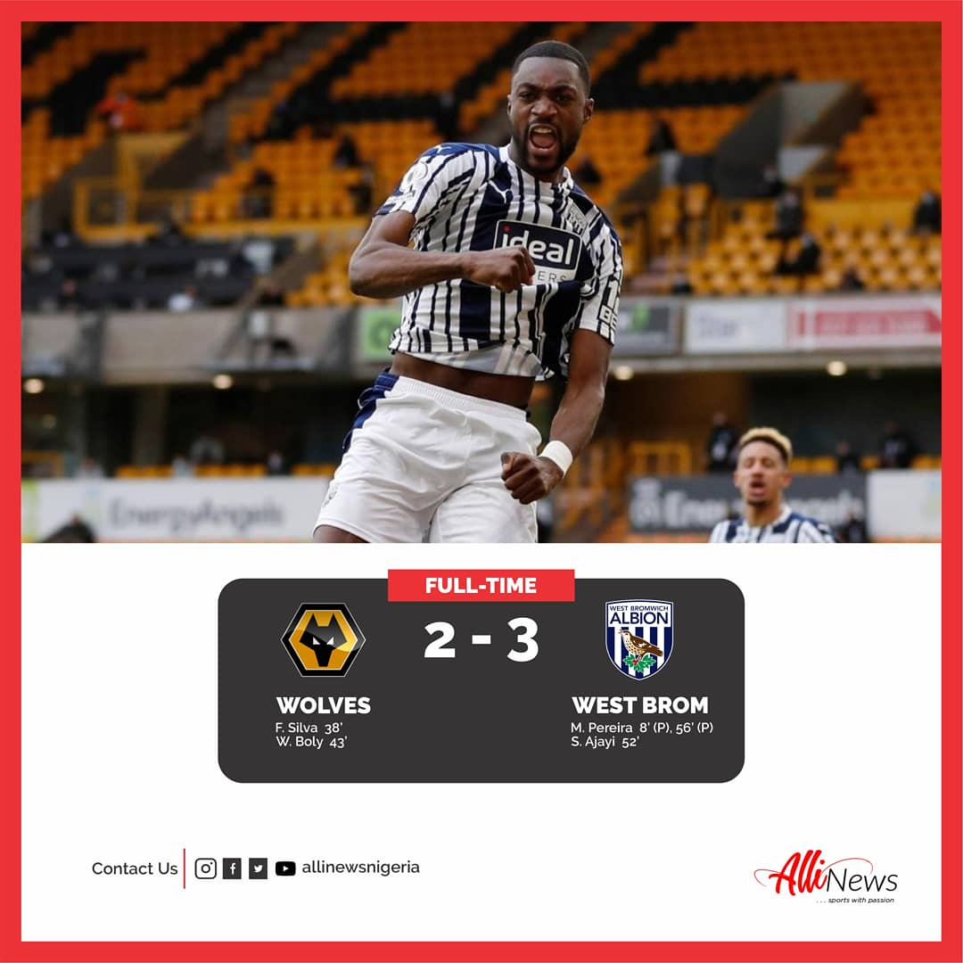 ⚽ ICYMI ✨ 🏴󠁧󠁢󠁥󠁮󠁧󠁿 Pereira scored a spot kick either side of Nigerian Defender, Semi Ajayi's wonderful header to secure a comeback win for West Brom despite the Baggies trailing at the break in their trip to Molineux in the #premierleague.
