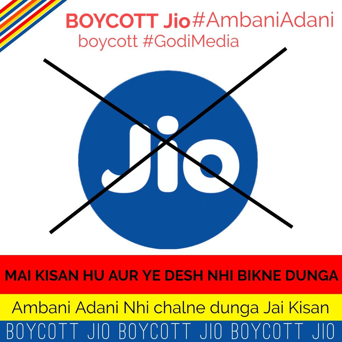 #boycottjio_savefarmers  #boycottgodimedia #BoycottAdaniAmbani  #kisanektazindabad  #KisanNahiToDeshNahi