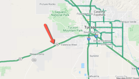 SR 86 west of Valencia is closed in both directions due to a crash.   #aztraffic #Tucson