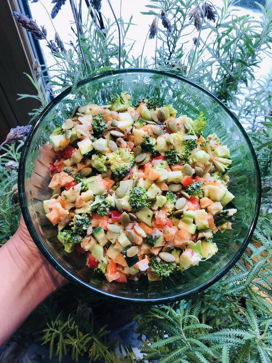 SALAD: broccoli, carrot, red pepper, zucchini, kohlrabi, roasted pumpkin seed/uncooked apple sauce, lime juice, mustard, mayonnaise  SOUP: sofrito, lardon, shiitake, kohlrabi, mixed bean, tomato  https://t.co/RLsvpOgaVr  #soup #salad #kohlrabi #montreal #Quebec #wabbitcooks🐰 https://t.co/kWmxByL0ey