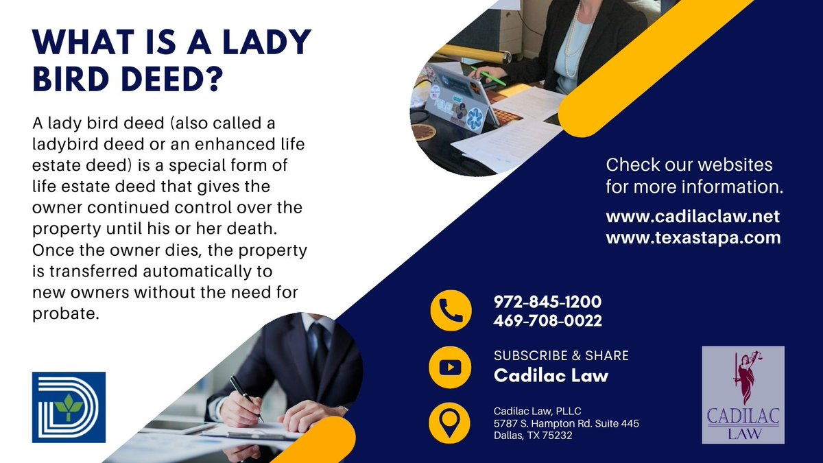 RT  RT @CadilacLaw: WHAT IS A LADY BIRD DEED? For more details, call us now at 469-708-0022 /  or watch me at  #deed #ladybird…