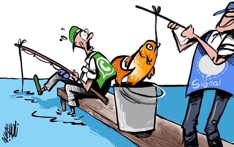 הגירה של משתמשי וואטסאפ לאפליקצית סיגנל #كاريكاتير #کاریکاتور #Karikatür #كارتون #كاريكاتير_اليوم #Cartoon #Caricature #ناصر_الجعفري @naserjafari #جريدة_الغد #الغد #الرأي_أخبار_الأردن #الراي @alrai @alqudsnewspaper #جريدة_القدس #מדיה_חברתית #التواصل_الاجتماعي #socialmedia https://t.co/VyaB93GoiL