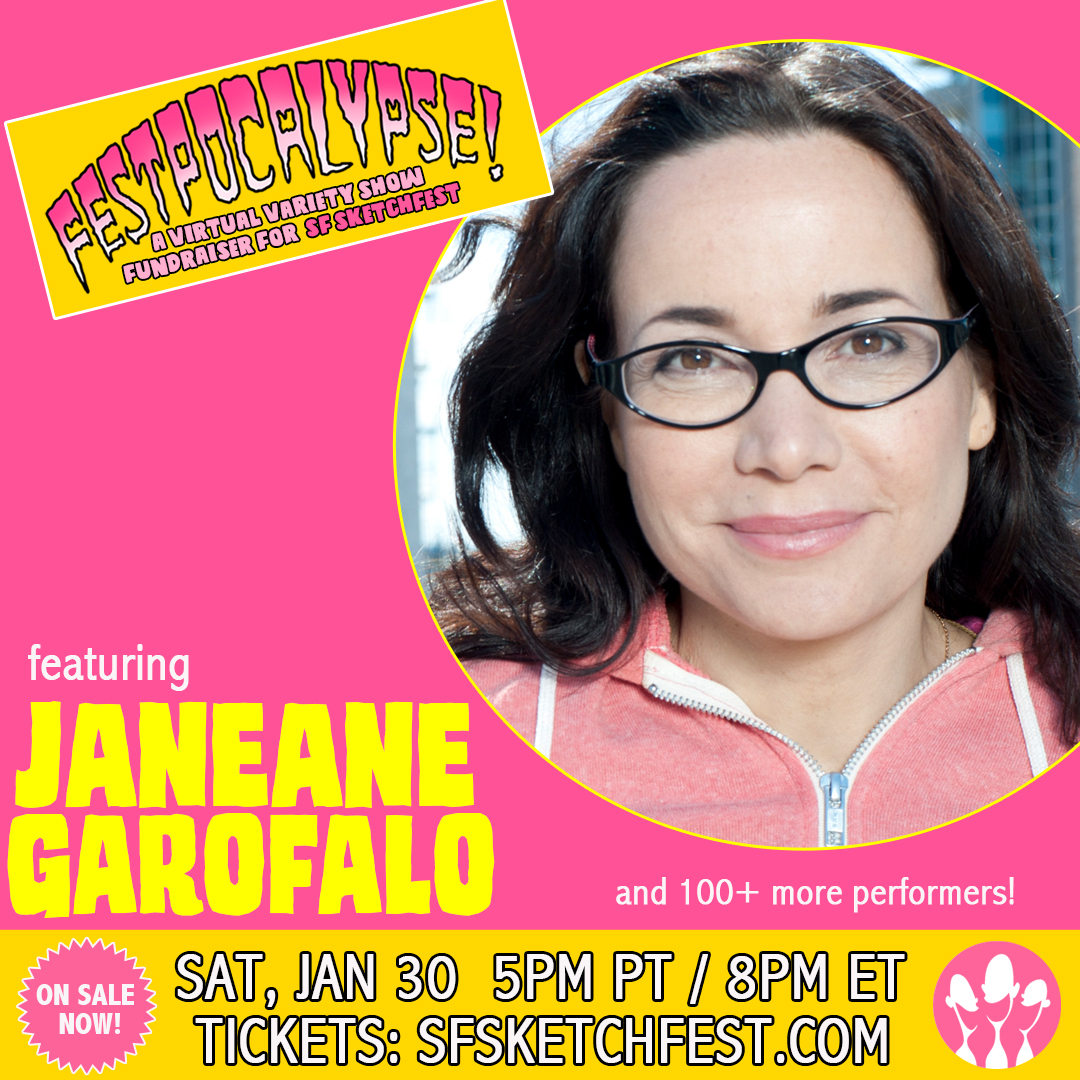 Comedian, actor and writer Janeane Garofalo will appear on Festpocalypse! One epic show, 100+ performers, one night. Tickets at  #festpocalypse #sfsketchfest #janeanegarofalo #wethotamericansummer #realitybites