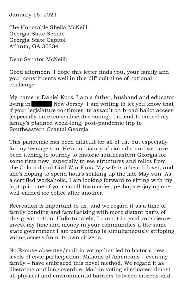 As #Georgia's Republican-dominated Legislature begins its attack on voting rights - esp #VoteByMail, I took time to let this coastal GA Senator know that if such measures are taken, she can forget my family's upcoming post-pandemic visit. @fairfightaction #Brunswick #Atlanta