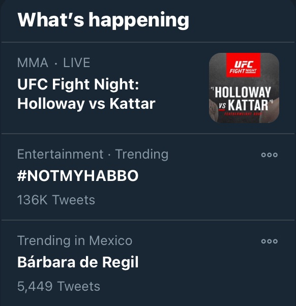 NUMBER TWO IN TRENDING AND 136K TWEETS LETS GOOOO #NOTMYHABBO