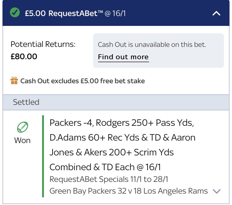This is quite possibly the hardest bet I've ever won 😂😂 16/1 is terrible! Pretty fun(/stressful) to count every yard tho! #LARvsGB #NFLPlayoffs