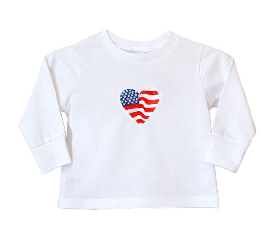 """Heart Flag"" Embroidered Shirt *Visit link to see embroidery on the back*  via @Etsy #shirt #heart #flag #girls #clothing #embroidery #red #white #blue #stars #stripes #patriotic #4thofJuly #america #apparel #tops #unitedstates #longsleeved #gift #fashion"