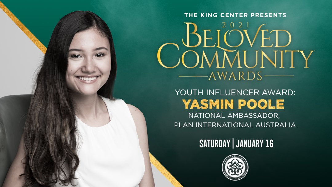 We honor you, @yasmin_poole, with the #BelovedCommunity Youth Influencer Award. #MLK #BCAKingCenter
