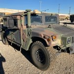 Image for the Tweet beginning: A green camouflage #Humvee was