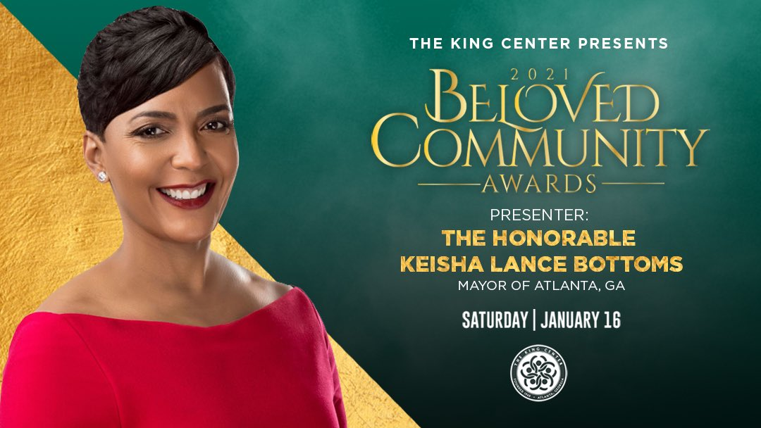 Welcome, @KeishaBottoms! Thank you for presenting at our #BelovedCommunity Awards. #MLK #BCAKingCenter #CorettaScottKing