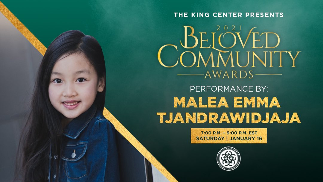 Welcome, @MaleaEmma. Thank you for your beautiful performance during the #BelovedCommunity Awards. #MLK #BCAKingCenter #CorettaScottKing