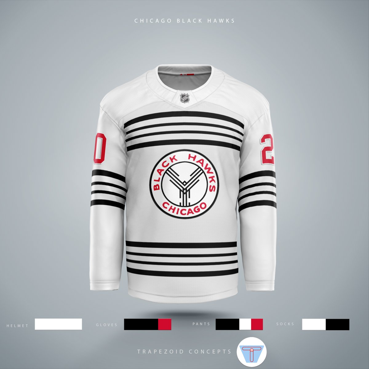 Version two of my Black Hawks concept does a much better job of using colour (specifically red) to direct the eye. #Blackhawks #hockey #NHL #hockeyjerseyconcepts #sportstemplates