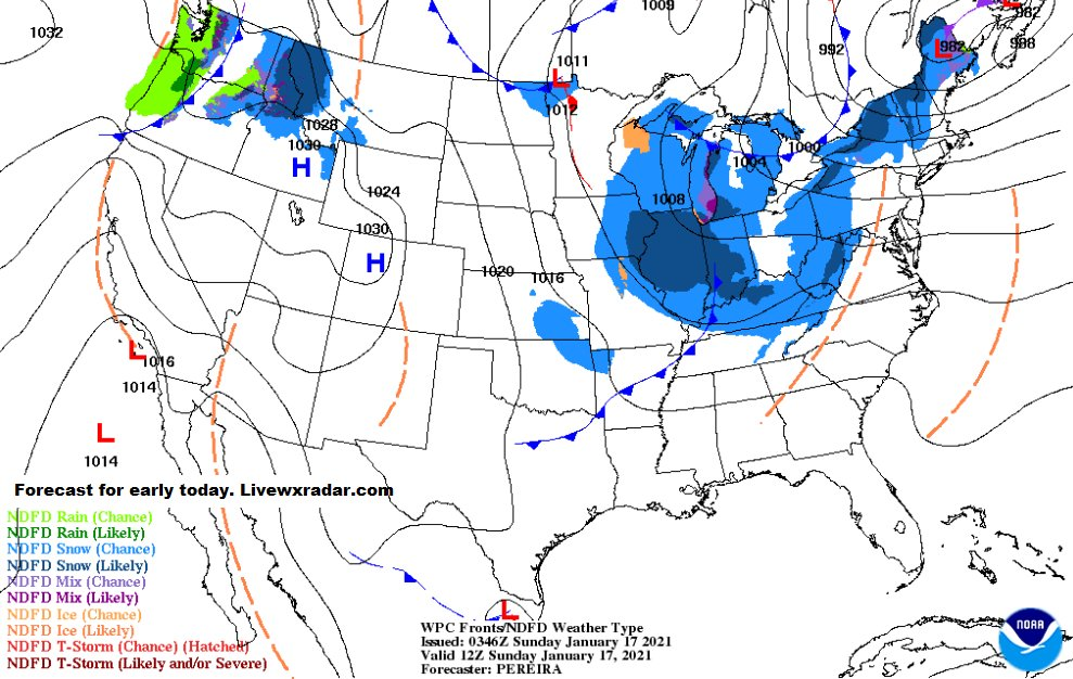 Forecast map for early today.       Get  Maps and Radars found at     https://t.co/HNLPnbqhEd              #wx #we ay #weekend  #Blizzard https://t.co/uLpPuOSpDG