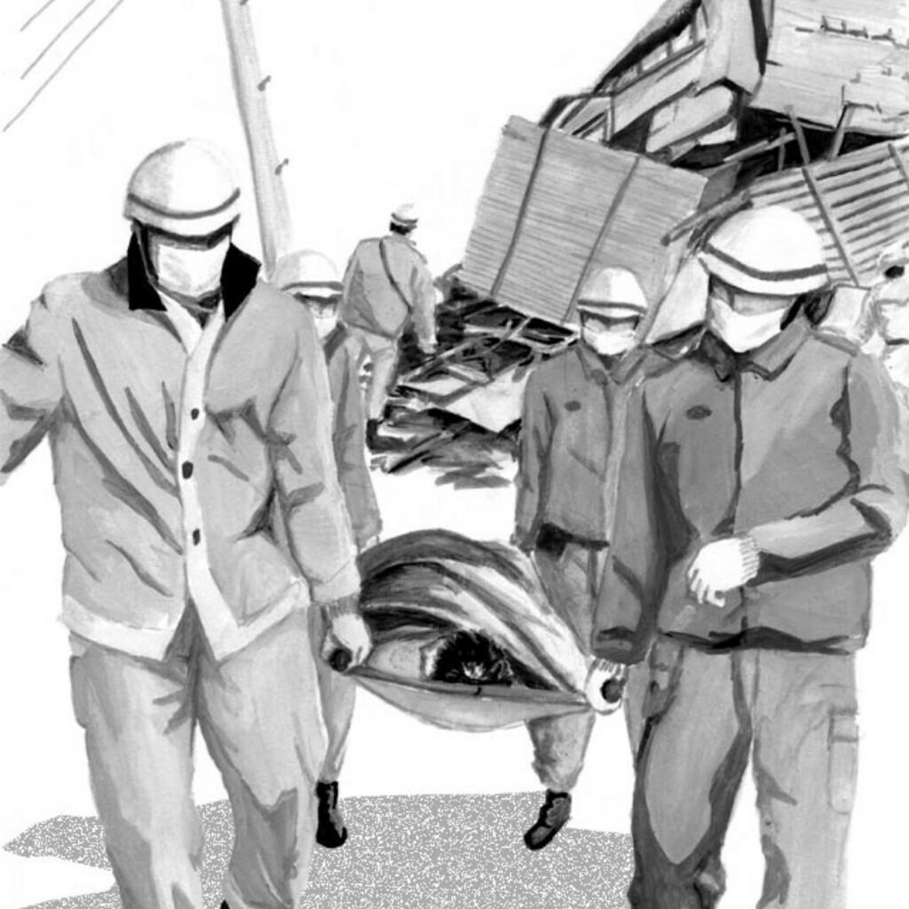 #阪神淡路大震災 から 26年、その前年に遊びに行った場所が全く違う世界のようになっていてショックでした #ARTWORK #drawing #イラスト #artwork #illustration #絵 #過去作品 #挿絵 #アポロンの嘲笑 #救急隊員 #被災地