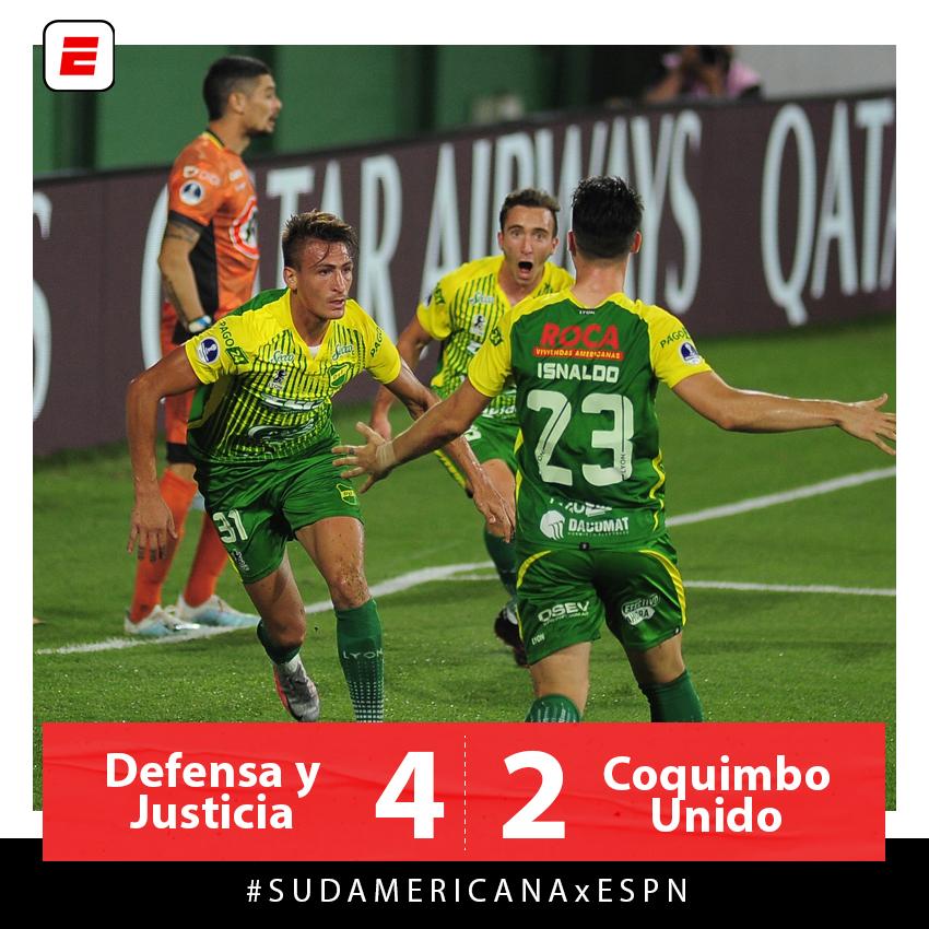 DEFENSA Y JUSTICIA ES FINALISTA DE LA #SUDAMERICANAxESPN: el conjunto de Crespo venció 4 a 2 a Coquimbo Unido y se medirá contra Lanús por el título. https://t.co/SqrCyc1Dgu