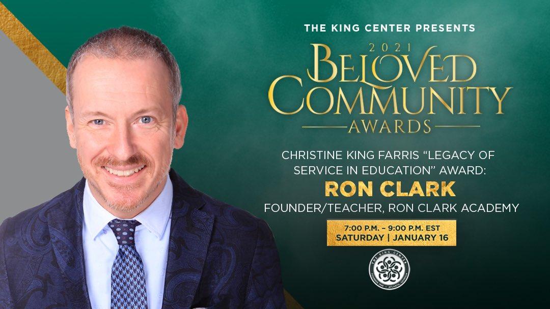 "We honor you, @mrronclark_, with the #BelovedCommunity Christine King Farris ""Legacy of Service"" Award. #MLK #BCAKingCenter"