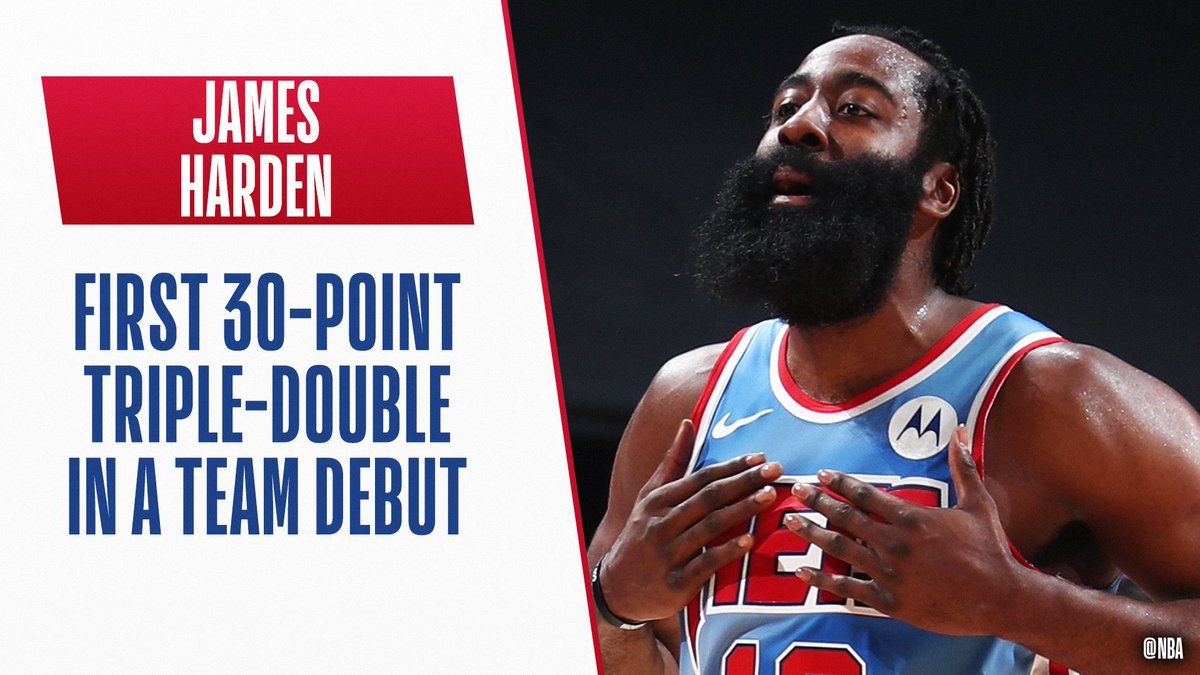 James Harden (32 PTS, 12 REB, 14 AST) of the @BrooklynNets is the first player in NBA history to record a 30-point triple-double in his debut with a new team.