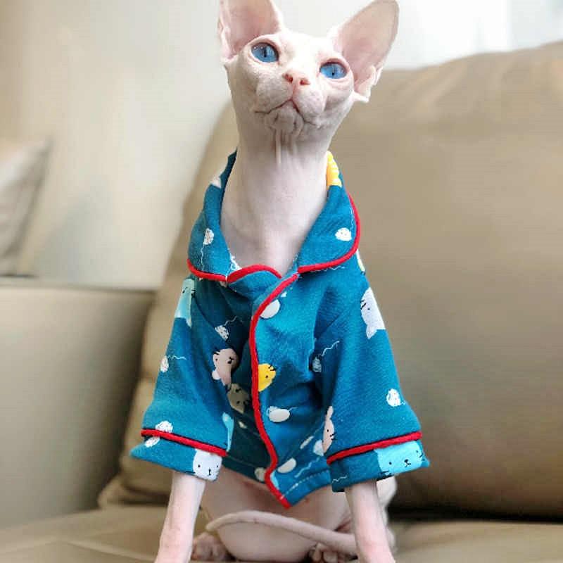 #Caturday:  #Pajamas #PajamaParty #PJs #Sleepy #Cat #Cats #CatsInCostumes #WhiteCat #SphynxCat