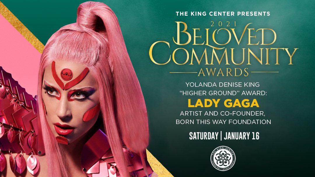 """Tonight, we award @ladygaga with the #BelovedCommunityYolanda Denise King """"Higher Ground"""" Award. #MLK #BCAKingCenter #CorettaScottKing"""