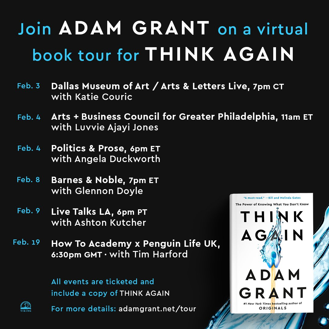 What does it take to rethink our own opinions, open other people's minds, and create cultures of learning?  Announcing the #thinkagain virtual tour.  Join us here: