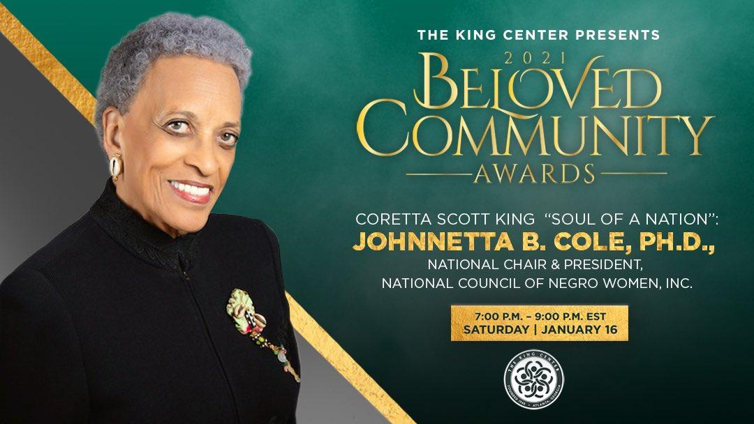 "Tonight, we award #DrJohnnettaBCole with the #BelovedCommunityCoretta Scott King ""Soul Of A Nation"" Award. #MLK#BCAKingCenter #CorettaScottKing"