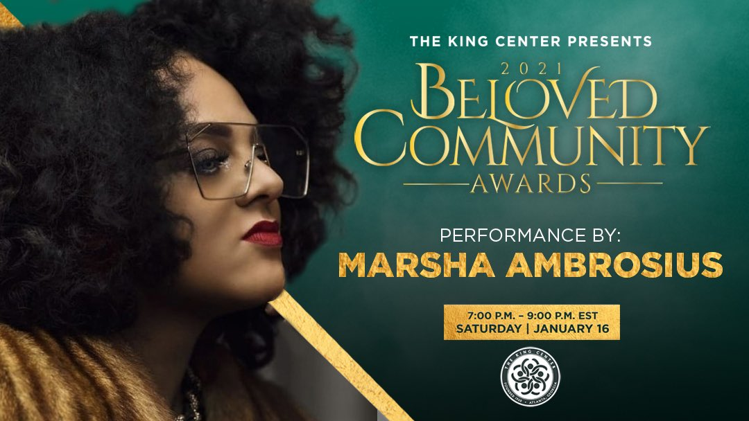Thank you, @MarshaAmbrosius, for performing at our #BelovedCommunity Awards. How powerful and beautiful! #MLK #CorettaScottKing #BCAKingCenter