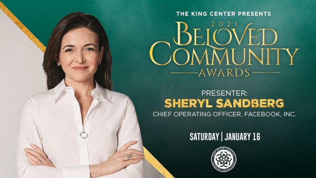 Welcome, #SherylSandberg! Thank YOU for presenting at The King Center's #BelovedCommunityAwards. #MLK#BCAKingCenter #CorettaScottKing