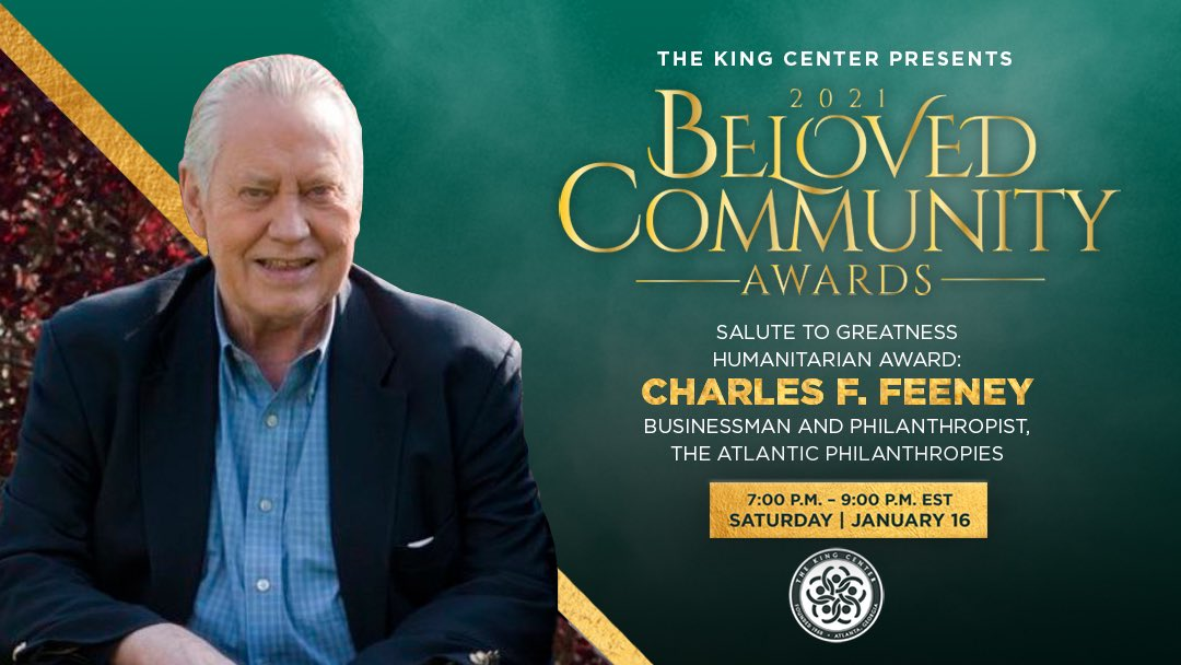 Tonight, we award #CharlesFFeeney with the #BelovedCommunitySalute To Greatness Humanitarian Award. #MLK#BCAKingCenter #CorettaScottKing