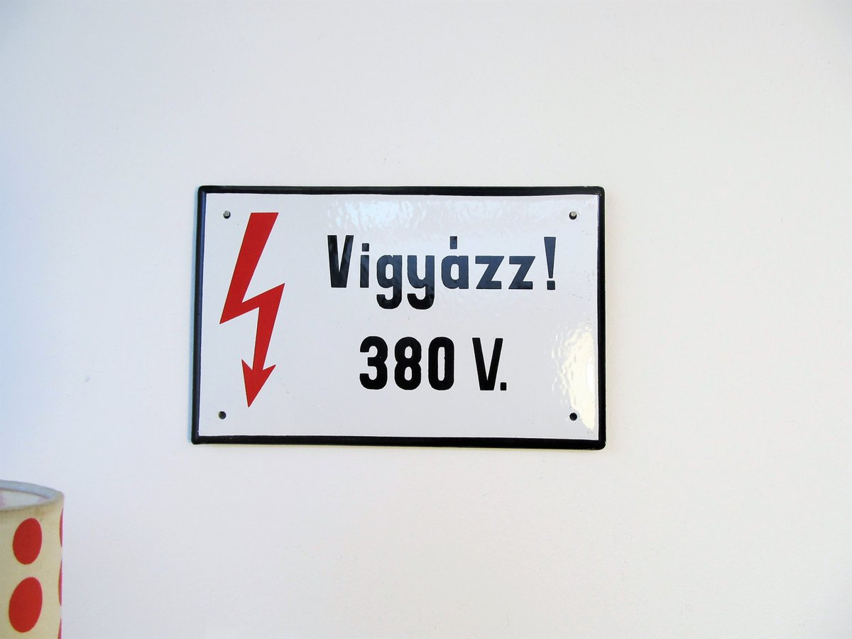 Small Size Hungarian Metal Vintage Street Sign   ''VIGYAZZ ! 380 V.''  #Christmas #MyNewTag #Retro #FREESHIPPING #Vintage #Wedding #BlackFriday #CYBERSALE #covid-19 #IndustrialMetal