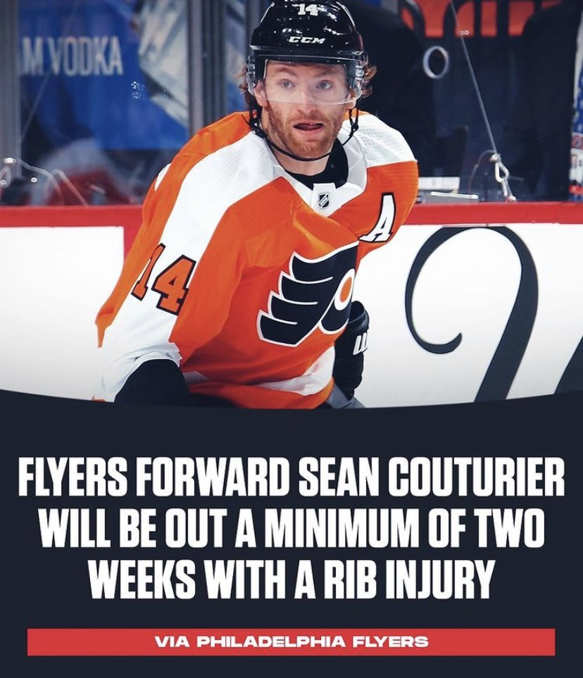 Bad new for the Philadelphia Flyers regarding Sean Couturier. Bad new for my #HockeyPool as well. #LetsGoFlyers #AnytimeAnywhere