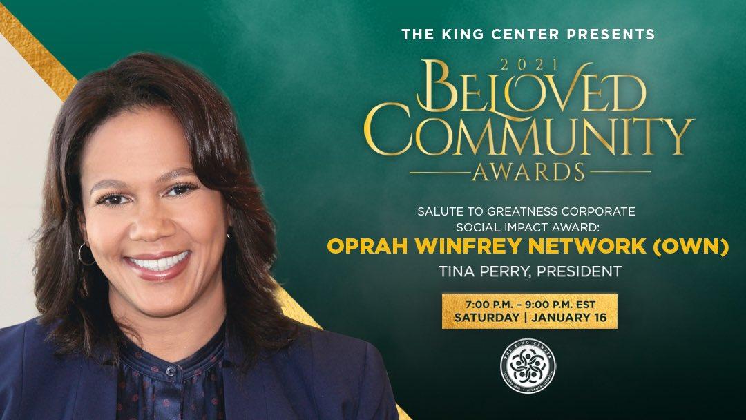 Replying to @TheKingCenter: Tonight, we award @OWNTV (@Oprah) with the #BelovedCommunity Salute To Greatness Corporate Social Impact Award. #MLK #BCAKingCenter #CorettaScottKing