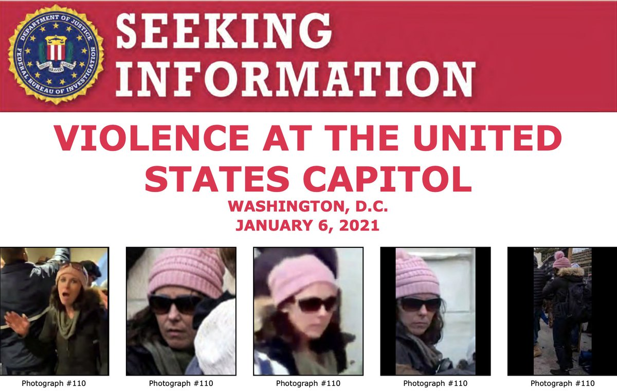 Help the #FBI identify this woman who allegedly unlawfully entered the U.S. Capitol on January 6. If you have information, submit a tip to . When providing a tip on any of the below photos, please refer to photograph 110.  @FBIWFO