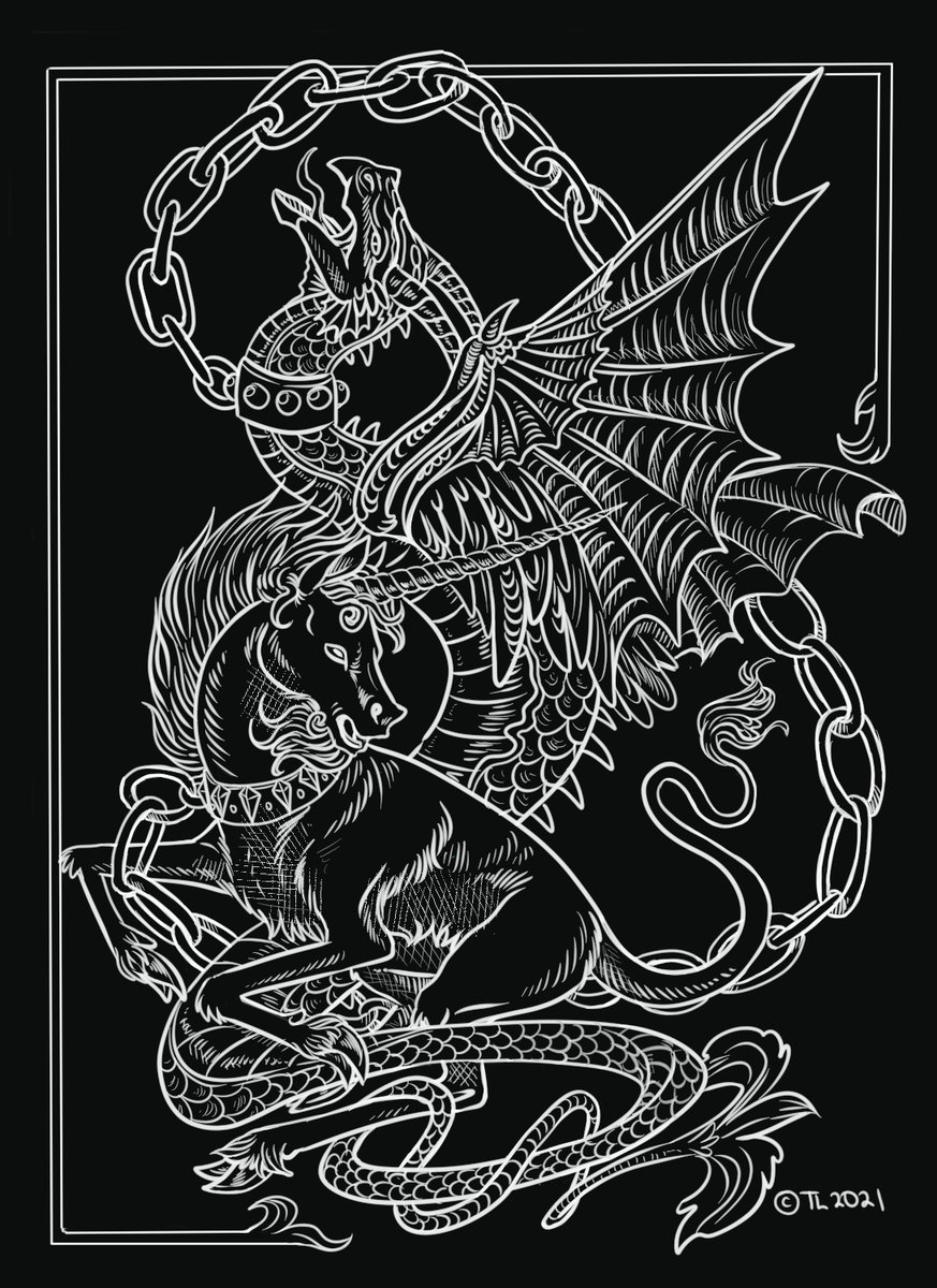 "Something a little different. ""Bound."" #unicorn #dragon #digitalart #art #drawing"