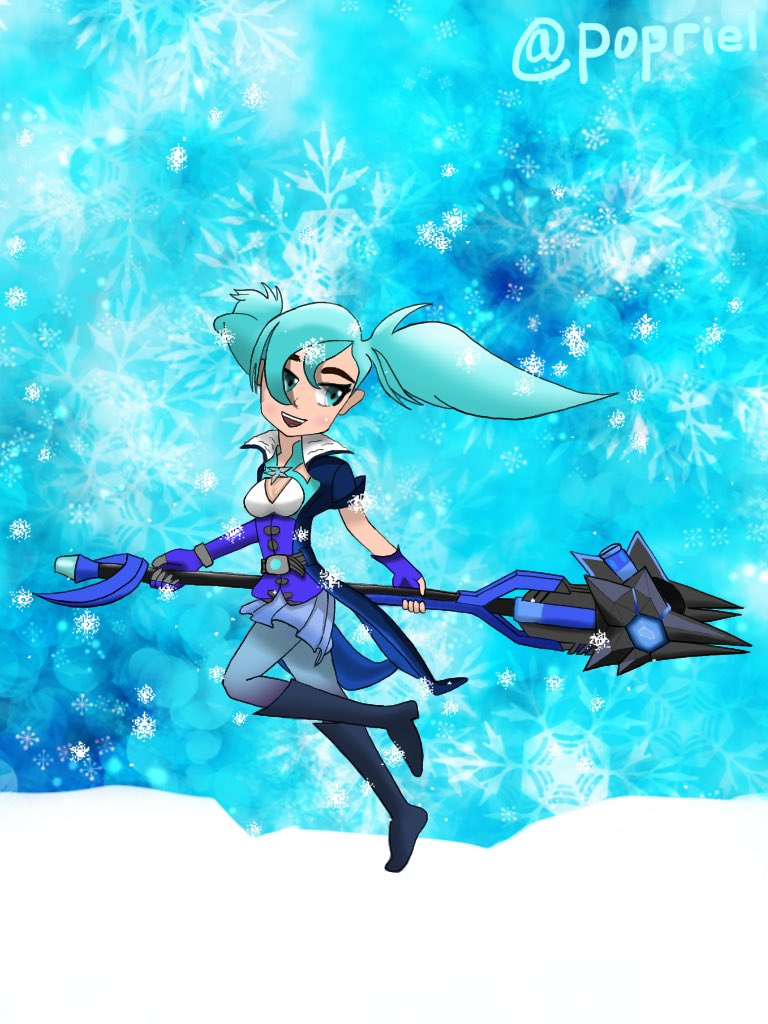 I decided to put a background a snow because I'm terrible drawing ice mountain. so here's evie, hope you like it😊 #Paladinsart #drawing  #artwork  #art