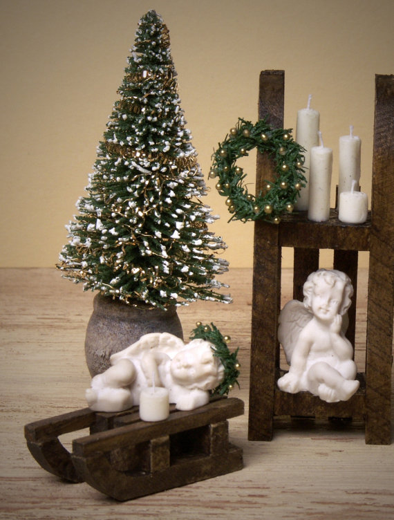 Decorative Miniature Fir Tree in Wooden Pot for Your Dollhouse by DinkyWorld -   #Christmas #christmas