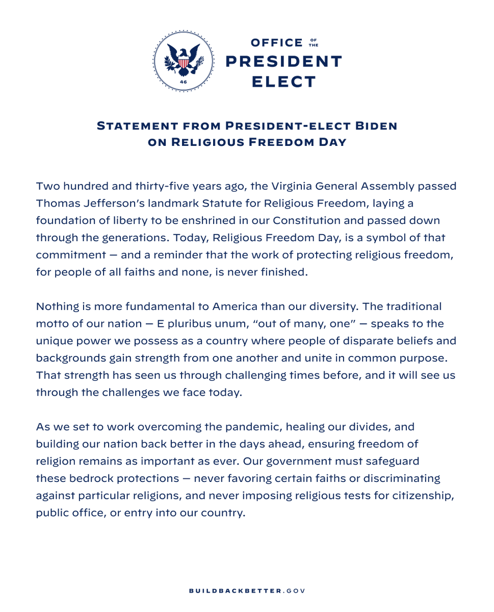 Statement from President-elect Biden on Religious Freedom Day: