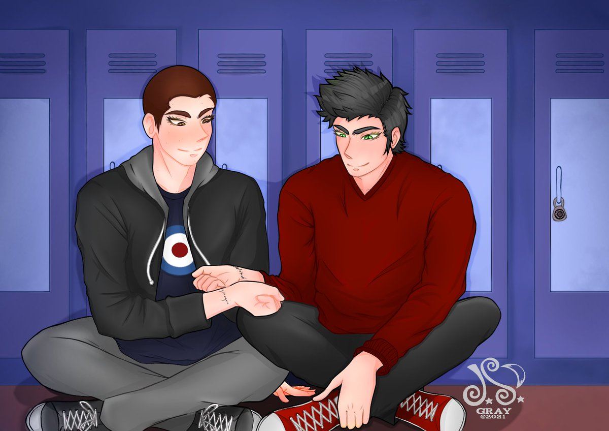 This Sterek art is for the wonderful @EvanesDust  who commissioned me to make a piece for her fic, a cute and heartwarming High School AU, you can check it out at this link:  Of soulmates and assumptions   Thaaaank youuuu~ ❤  #sterek  #art