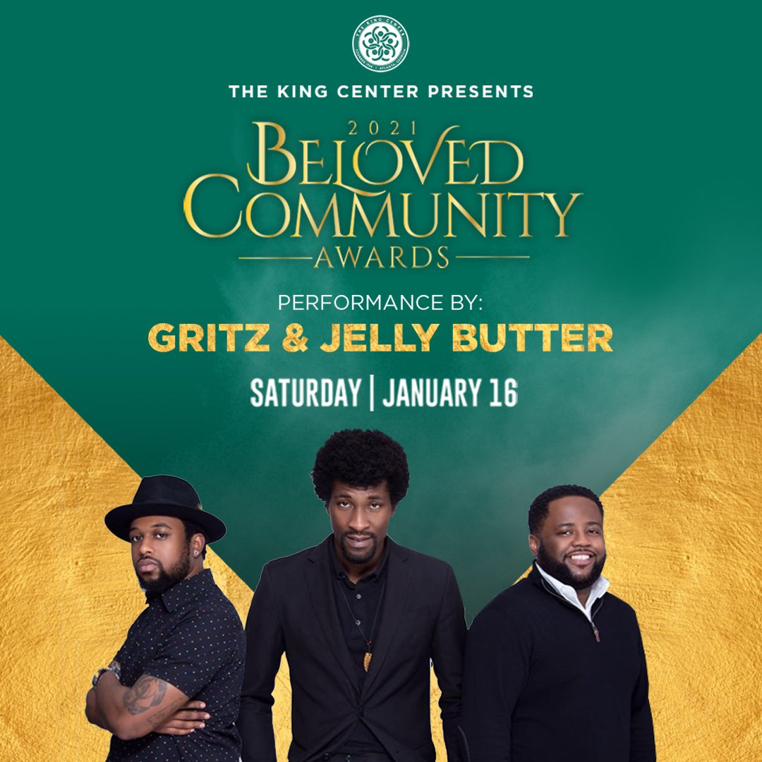 """""""Tell em it's Gritz & Jelly Butter!"""" What a magnificent band. Thank you, @GritzAtl, for being our #BelovedCommunity Awards house band. #MLK #BCAKingCenter"""