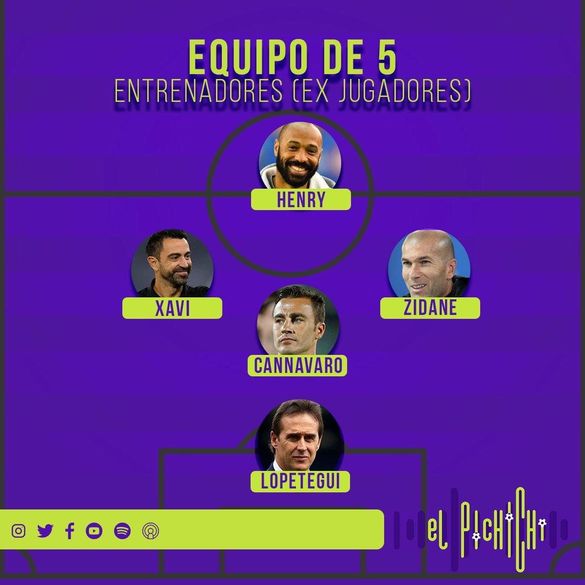 Un equipo de 5 con los mejores técnicos (calificados como jugadores) ⚽️  ¿Que cambios harías? - #Zidane #Xavi #Henry #Cannavaro #Lopetegui