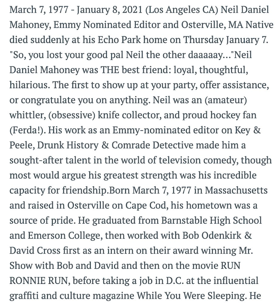 A lovely tribute written by Jonah Ray, who also took the photo— the last photo he'd taken of Neil just before his passing. #neiledit
