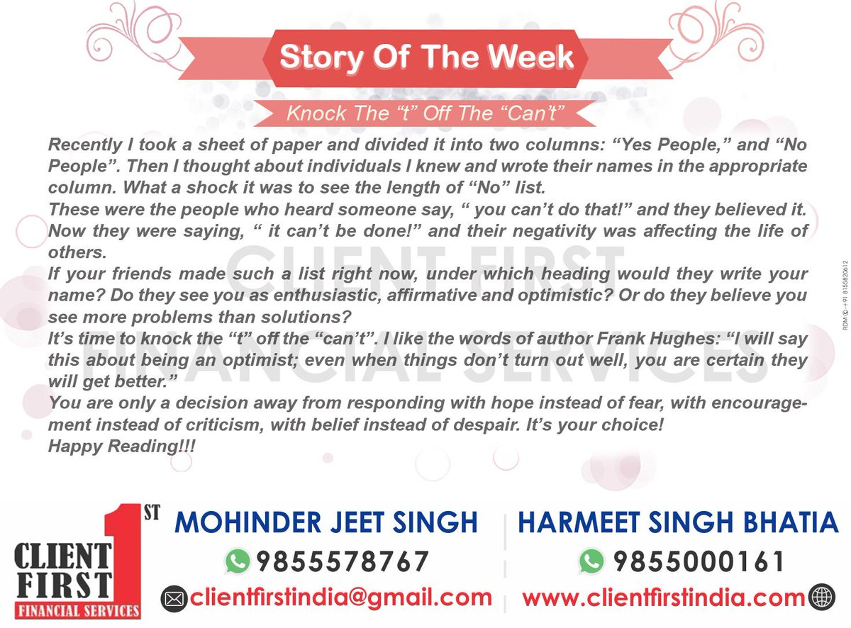 #StoryoftheWeek #KnockTheT #OffTheCant #Recently #SheetofPaper #Divided #Columns #People #Yes #No #Thought #Individual #WroteNames #Appropriate #Shock #Length #Believed #Negativity #Affecting #Life #Friends #MadeList #Heading #Enthusiastic #Affirmative #Optimistic #Problems<br/>
