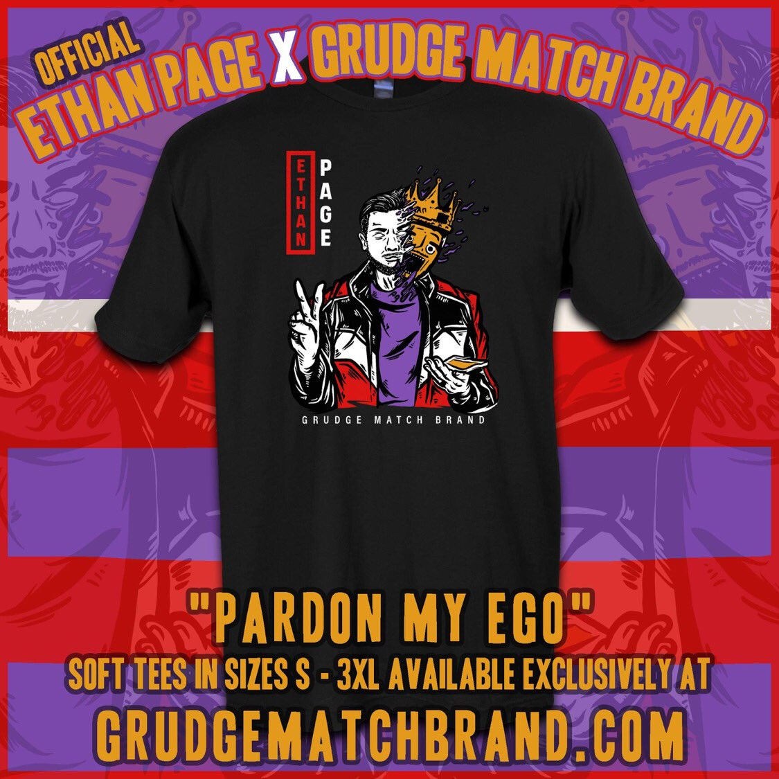 🚨ON SALE & READY TO SHIP!!🚨 Ethan Page tees NOW AVAILABLE at ! Our official collaboration w/ Impact Wrestling Star, Karate Man, snack daddy, & vlogger  @OfficialEGO. Art by @ofthedead209 #grudgematchbrand #ethanpage #hardtokill