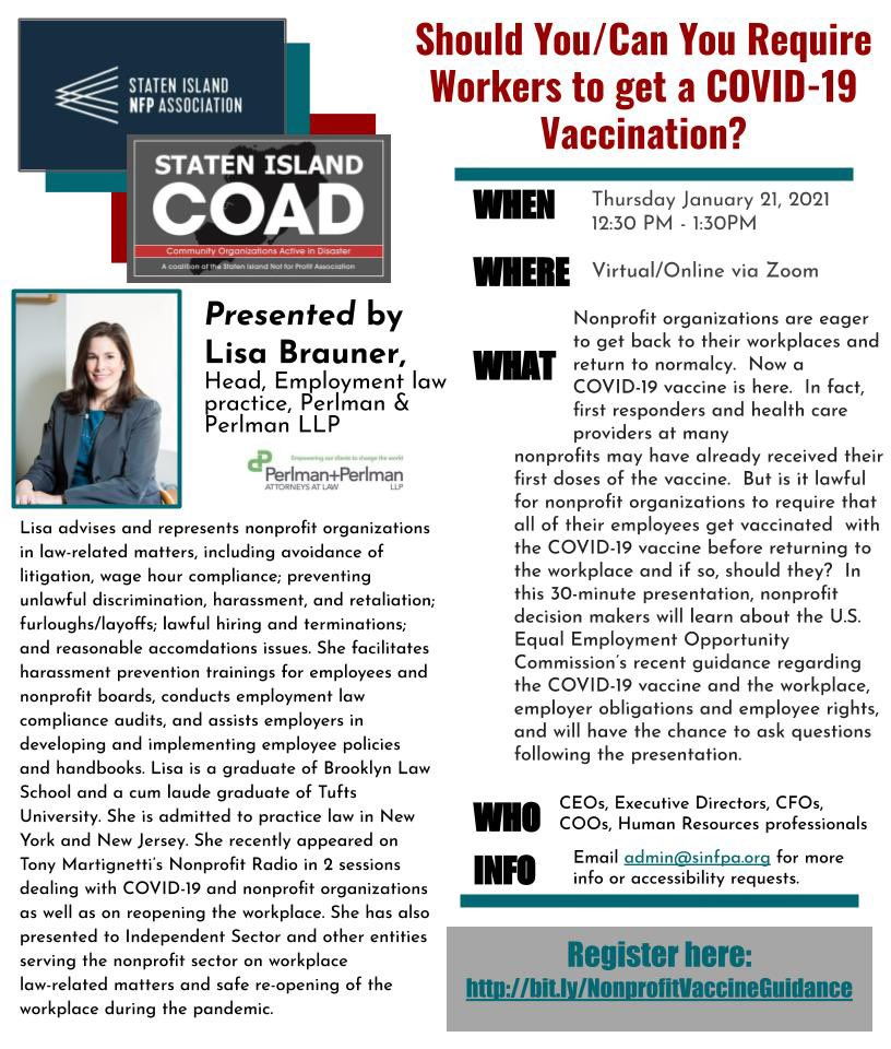 """Join us on #Thursday January 21st at 12:30PM for this #free #webinar presented by Lisa Brauner of @taxexemptlawyer on """"Should You/Can You Require Workers to get a #COVID19 Vaccination"""" #Register Now :    #CEO #HR #vaccine #employees #nonprofit #CBO #NPO"""