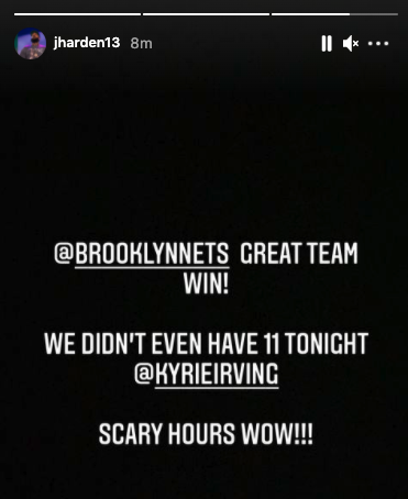 """""""WE DIDN'T EVEN HAVE 11 TONIGHT (KYRIE IRVING) SCARY HOURS WOW!!""""  James Harden putting the league on notice 👀"""
