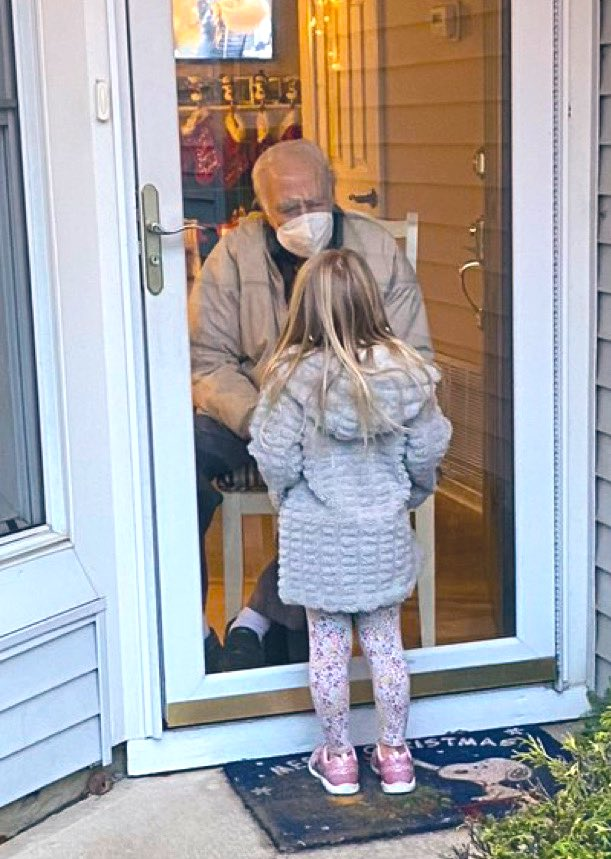 Timeless pandemic photo...   A reader's 5 year old daughter paying a visit to her 96 year old WWII veteran grandfather.  Stay safe everyone.   (HT @vinsub33) #COVID19
