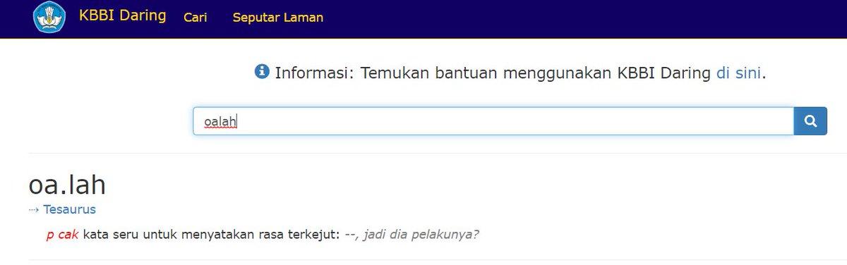 Replying to @JuliePutra: Breaking news pagi ini: Oalah uda jadi kata baku di Bahasa Indonesia