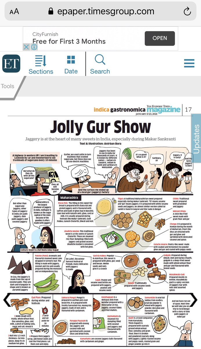 Jolly Gur Show #Jaggery is at  the heart of many sweets in India ,especially during #makarsankranti Do read todayz #TheEconomicTimes #Magazine #indicagastronomica Page17 A big thank u 2 the powerhouse of Knowledge & Talent @bora_times 4 this very interesting & informative feature