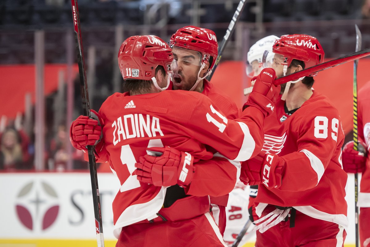 "Photo gallery: The Red Wings put one in the ""W"" column.  @Dylanlarkin39 #redwings #nhl"