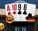 """Played rather tight during #HappyHour on @GGPoker but finally unlocked the """"hot 69 achievement"""".  And to make it even better, the hand even includes the double-suited 69 combo as well.  #nice"""